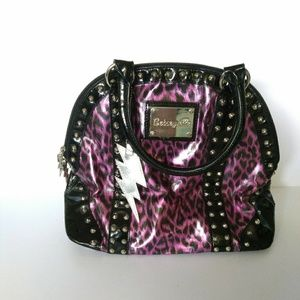 Betseyville Purple Leopard Print Studded Bag